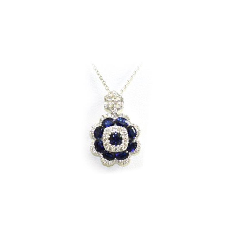 18 Karat White Gold Sapphire and Diamond Flower Pendant Necklace