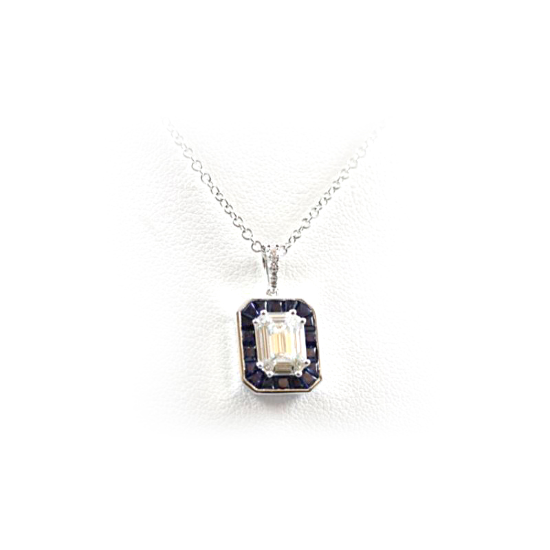 18 Karat White Gold Square Sapphire and Diamond Pendant Necklace