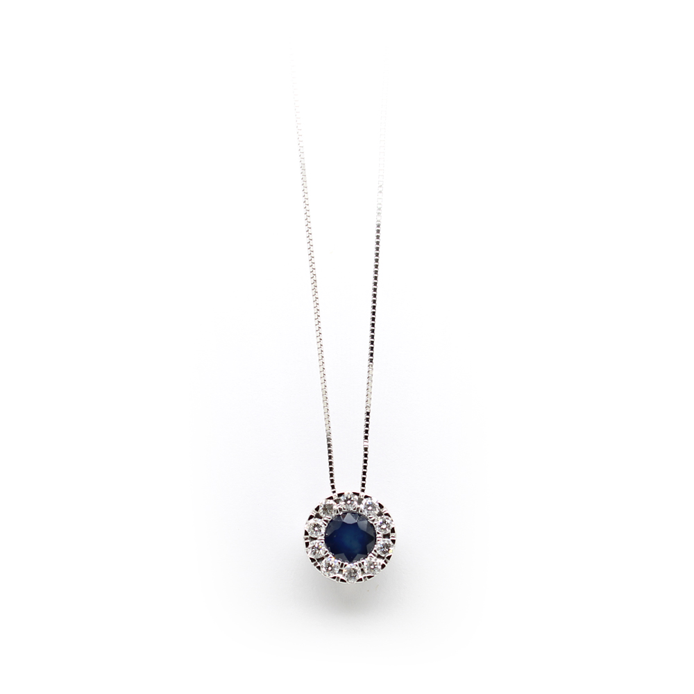 Paramount Gems 14 Karat White Gold Sapphire and Diamond Circle Pendant Necklace