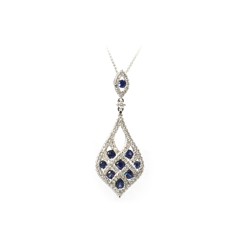 14 Karat White Gold Blue Sapphire and Diamond Pear Shaped Necklace