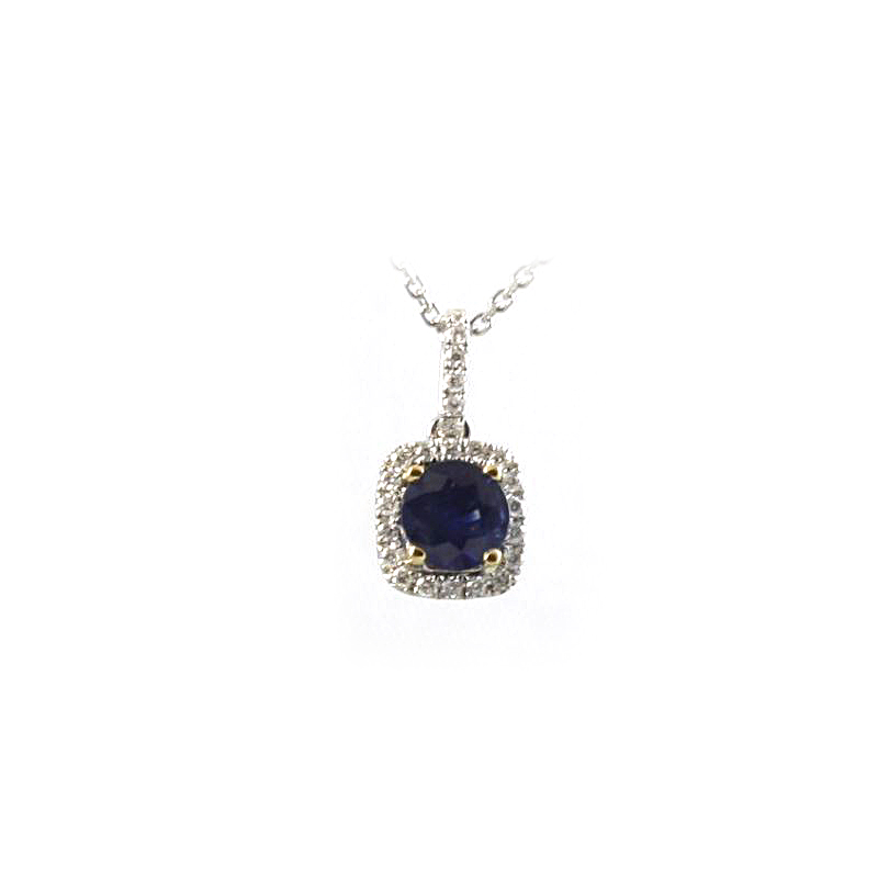 18 Karat White Gold Blue Sapphire and Diamond Square Pendant Necklace