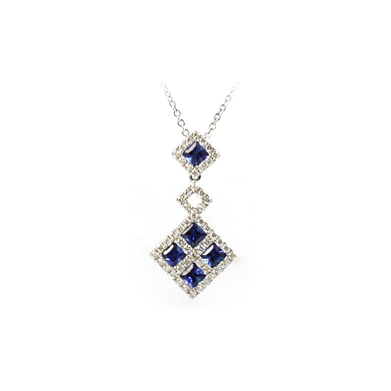 14 Karat White Gold Blue Sapphire and Diamond Dangle Pendant Necklace