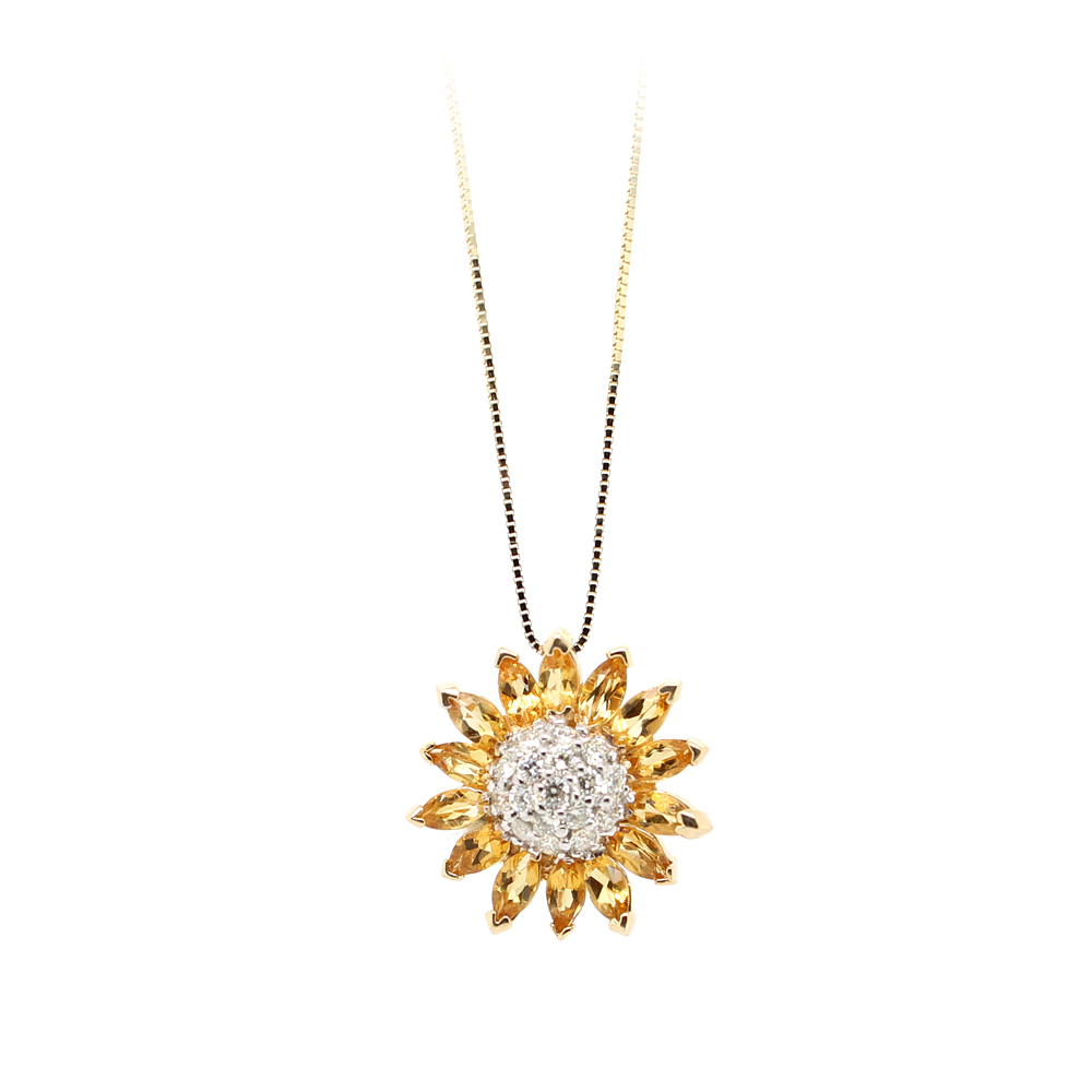 Ryan Gems 14 Karat Yellow Gold Yellow Sapphire and Diamond Sunflower Pendant Necklace