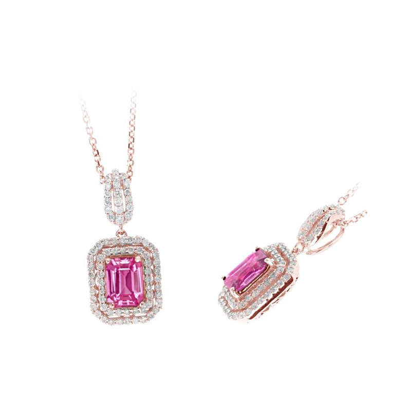 Ryan Gems 14 Karat Rose Gold Pink Sapphire and Diamond Pendant Necklace