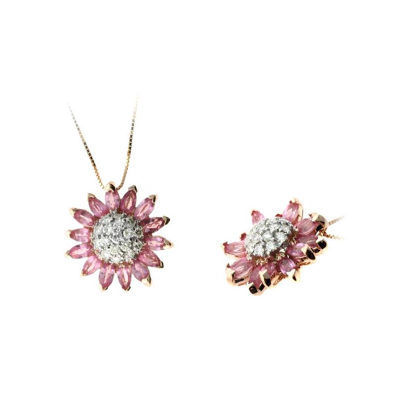 Ryan Gems 14 Karat Rose Gold Pink Sapphire and Diamond Sunflower Pendant Necklace