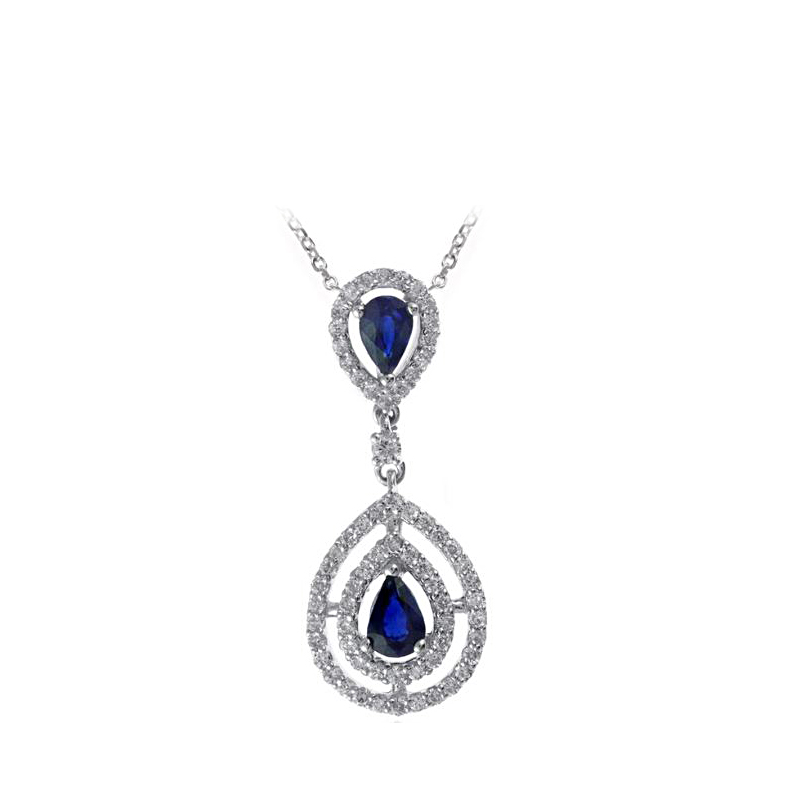 Ryan Gems 14 Karat White Gold Sapphire and Diamond Pendant Necklace