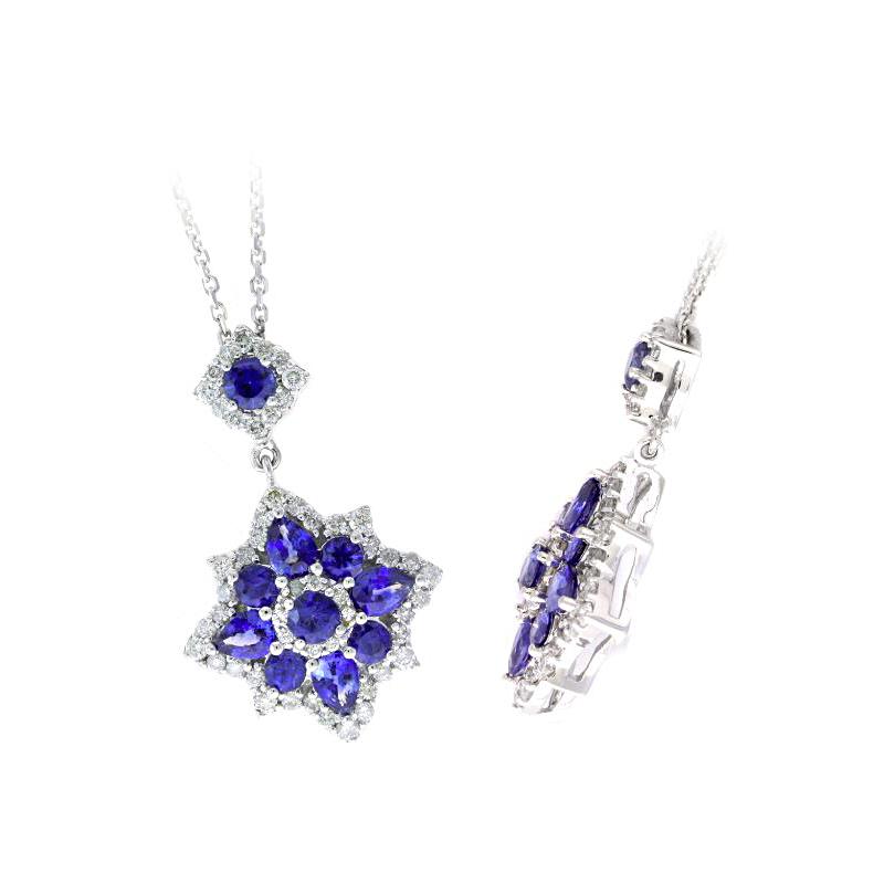 Ryan Gems 14 Karat White Gold Blue Sapphire and Diamond Pendant Necklace