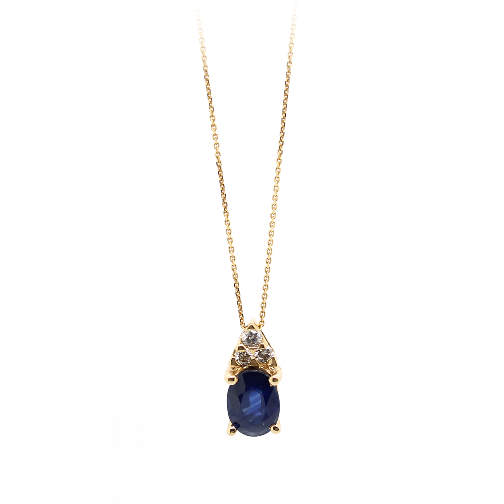 Ryan Gems 14 Karat Yellow Gold Sapphire and Diamond Pendant Necklace