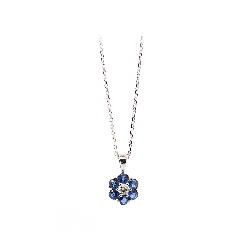 Ryan Gems 14 Karat White gold Sapphire and Diamond Pendant Necklace