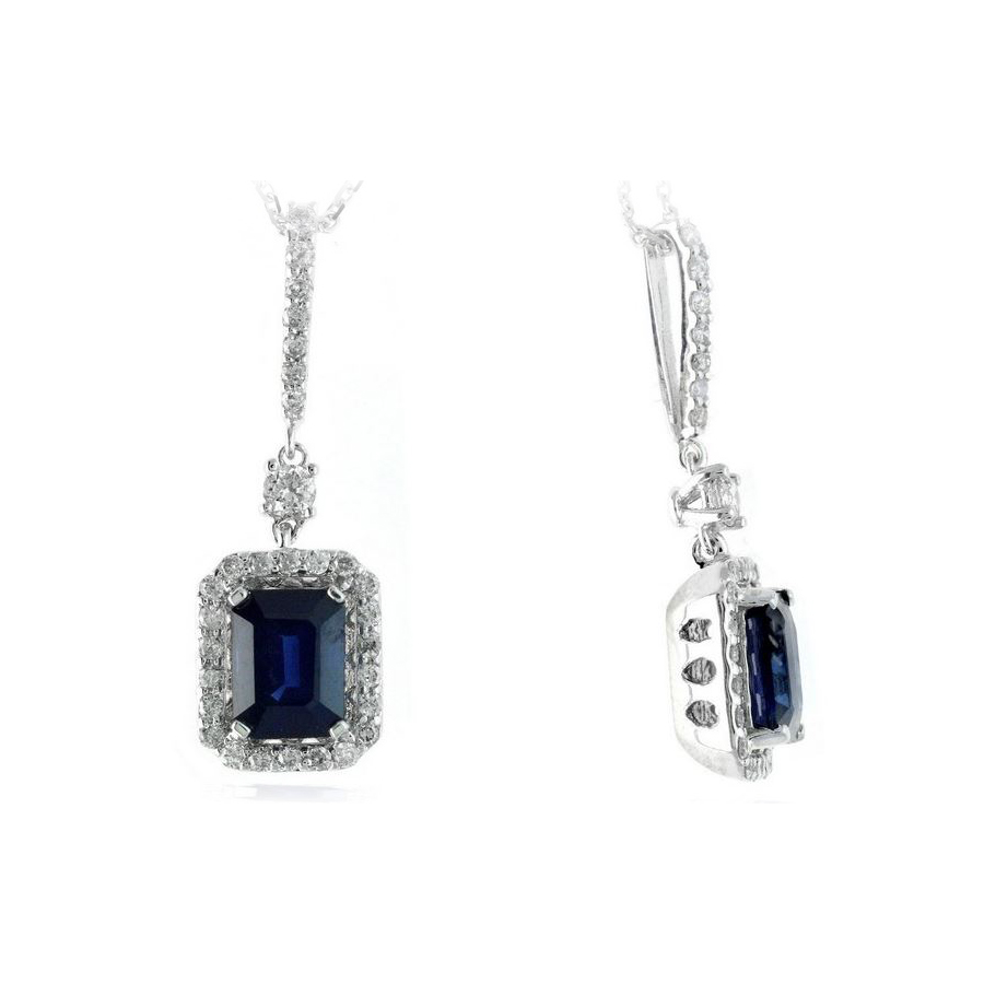 Ryan Gems 14 Karat White Gold Octagonal Sapphire and Diamond Earrings