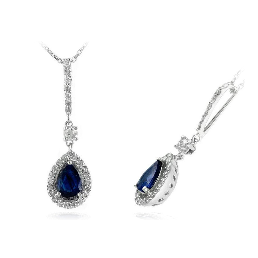 Ryan Gems 14 Karat White Gold Blue Sapphire and Diamond Pendant Necklace