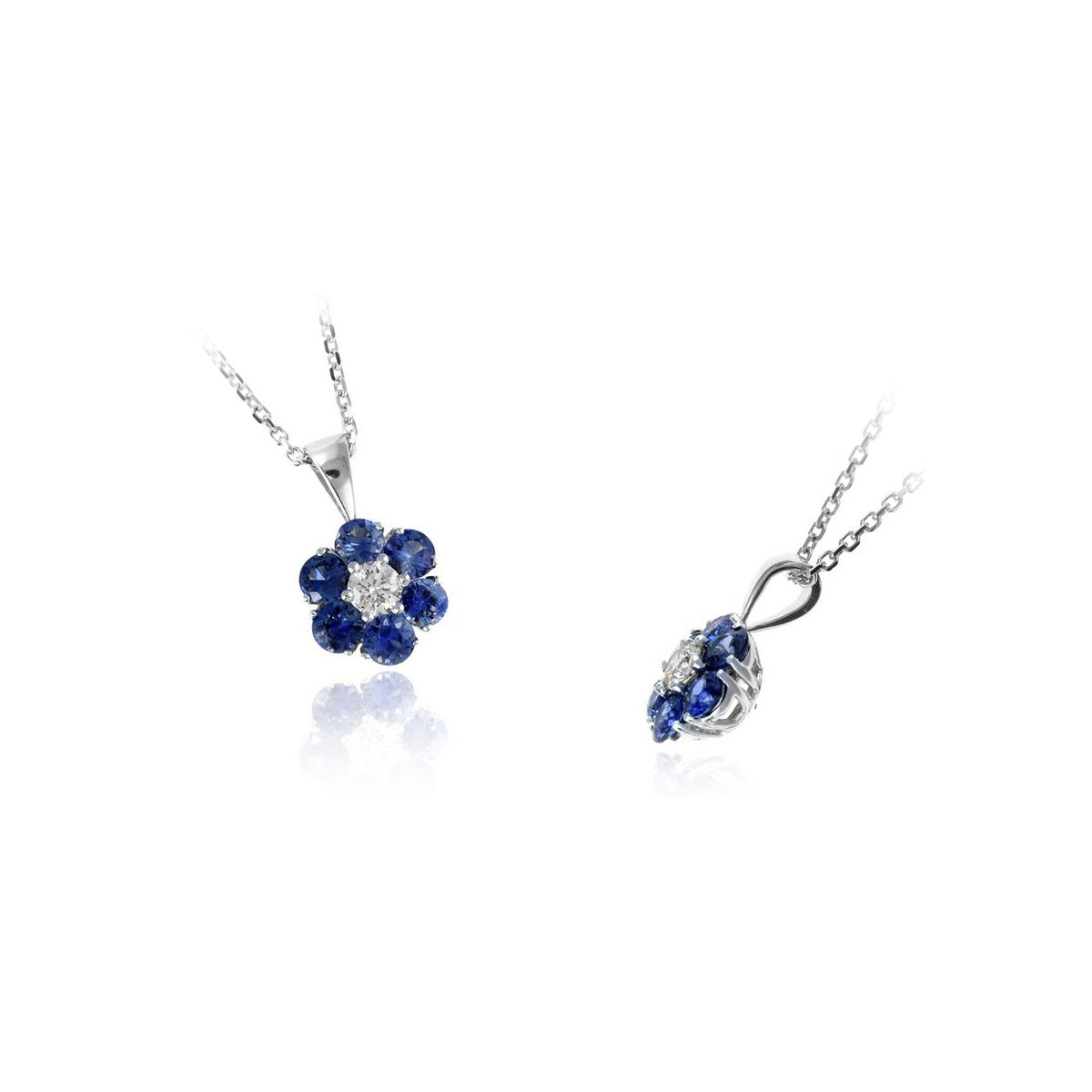 Ryan Gems 14 Karat White Gold Blue Sapphire and Diamond Flower Pendant Necklace