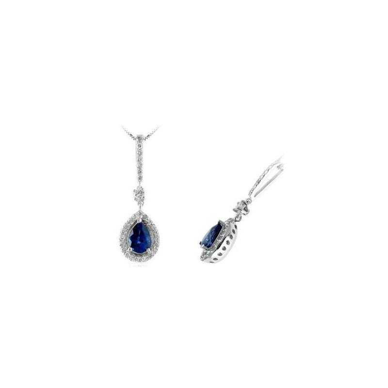 14 Karat White Gold Pear Shaped Blue Sapphire and Diamond Pendant Necklace