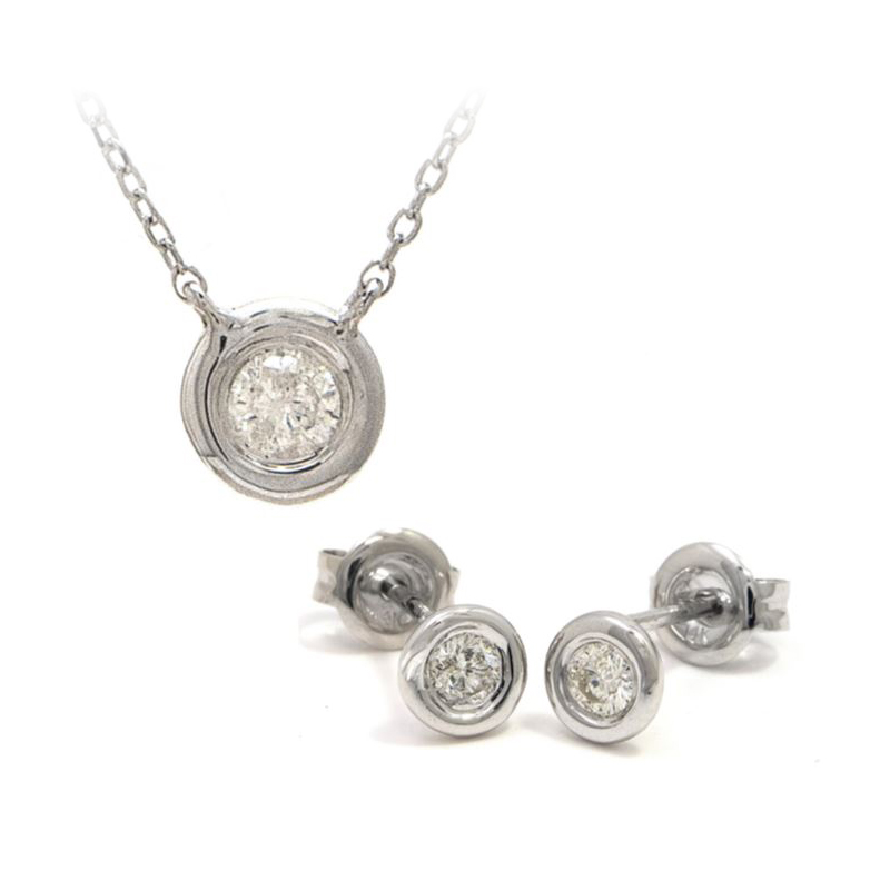 14 Karat White Gold Diamond Solitaire Pendant Necklace and Earring Set