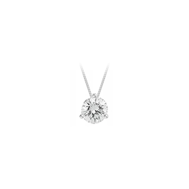 Paramount Gems 14 Karat White Gold Diamond Solitaire Pendant Necklace