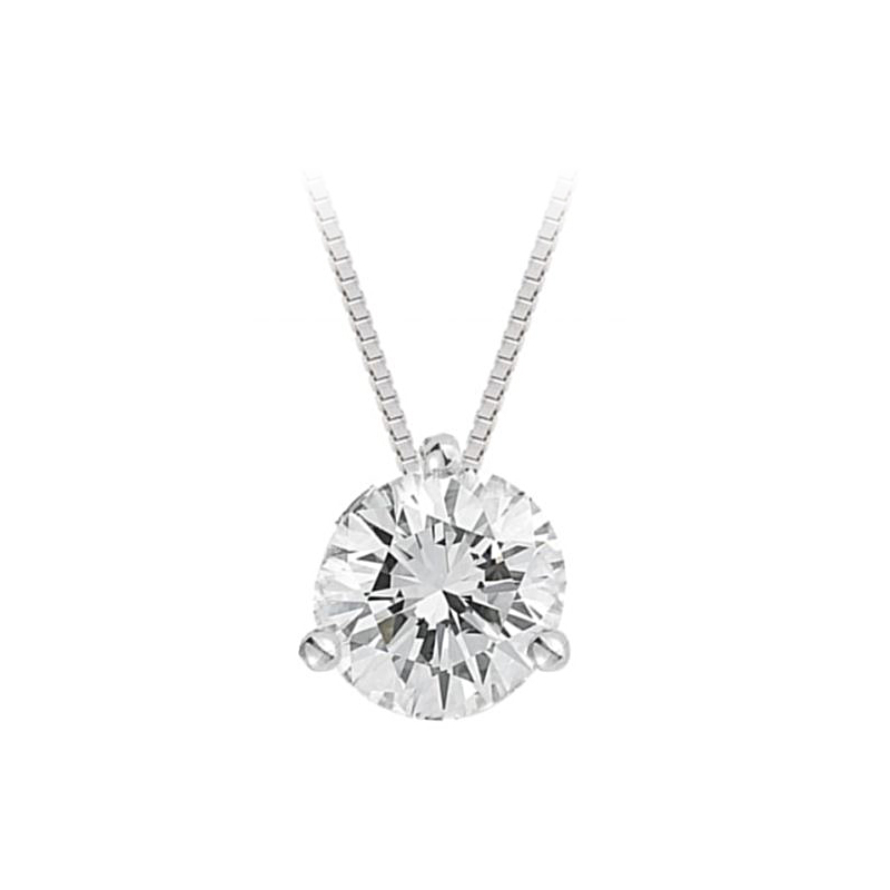 Paramount Gems 14 Karat White Gold Diamond Solitaire Pendant Necklace