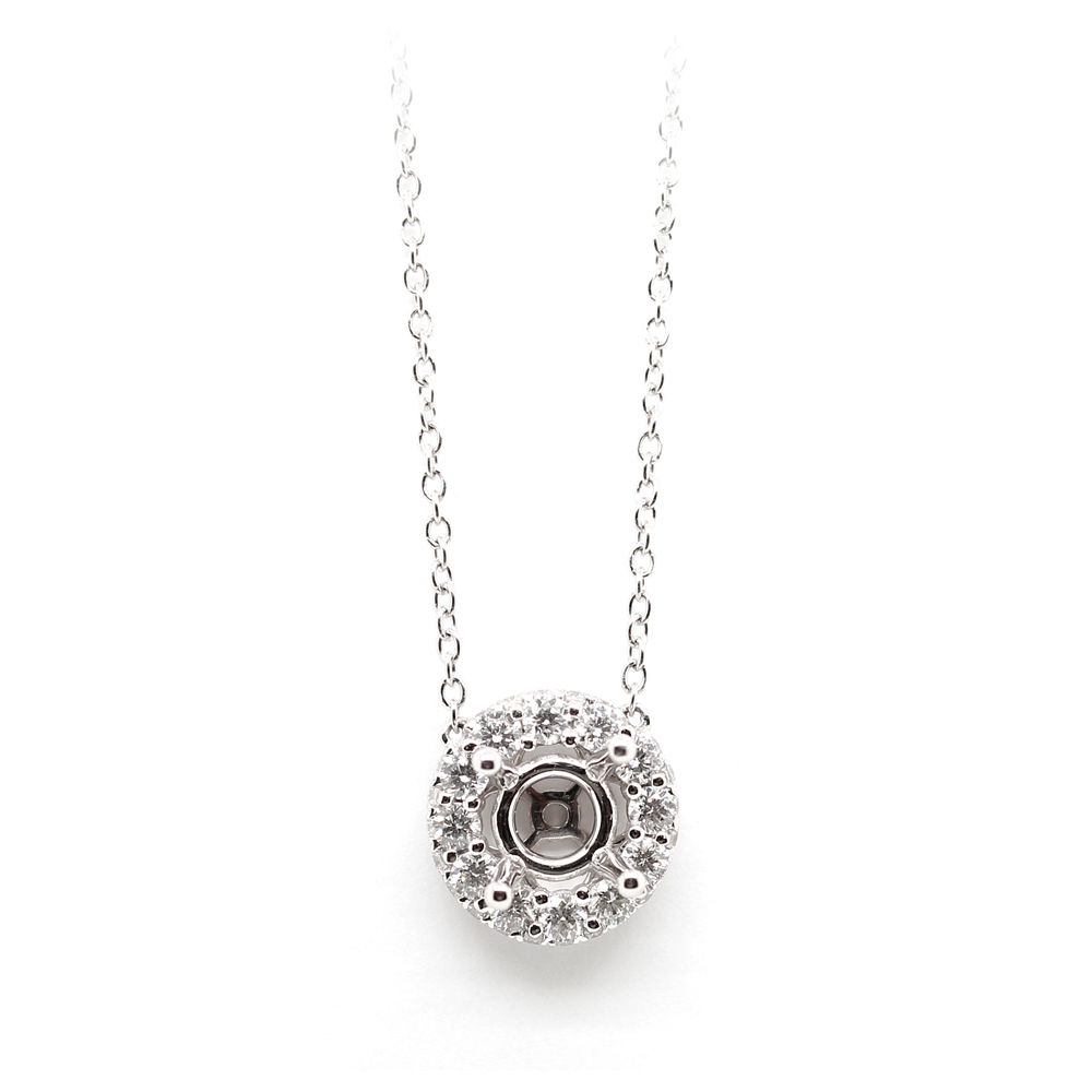 Amden Jewelry Seamless Collection 18 Karat White Gold Diamond Semi-Mount Necklace