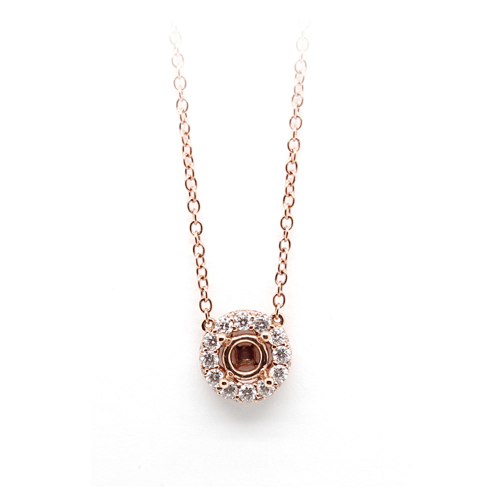 Amden Jewelry Seamless Collection 18 Karat Rose Gold Diamond Semi-Mount Necklace