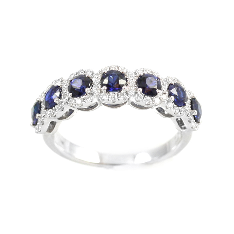 14 Karat white gold diamond and sapphire band.