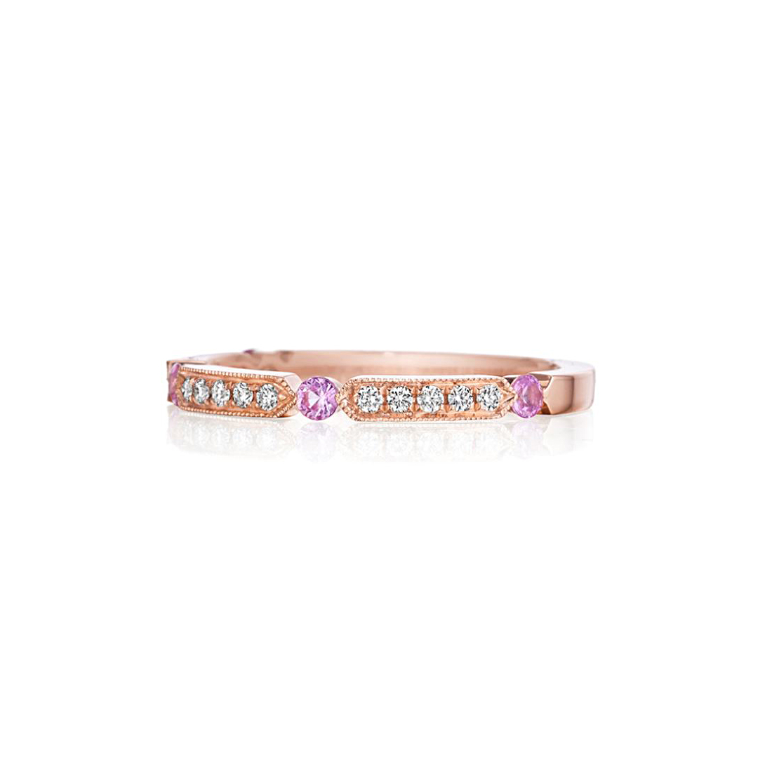 Henri Daussi 14 Karat Rose Gold Pink Sapphire and Diamond Band
