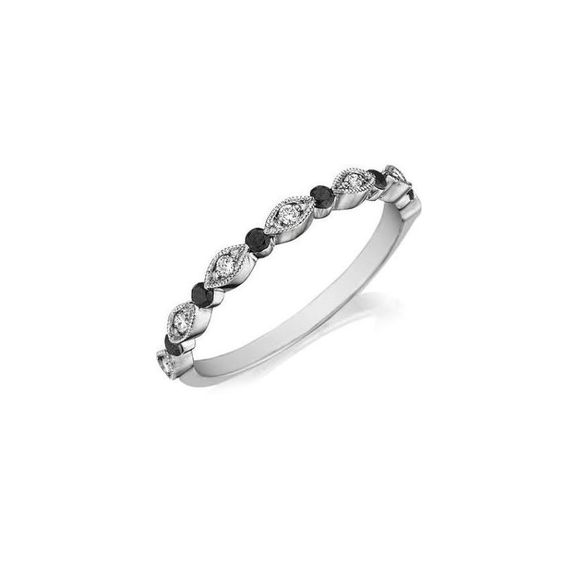 Henry Daussi 18 Karat White Gold Diamond and Sapphire Wedding Band
