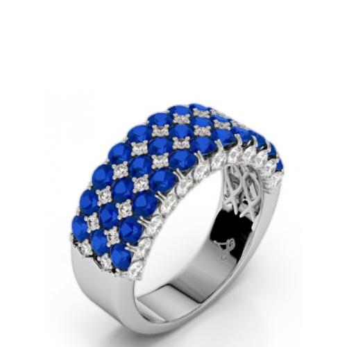 Amden Jewelry Seamless Collection 18 Karat White Gold Five Row Diamond and Sapphire Band