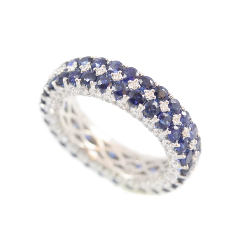 Amden Jewelry Seamless Collection 18 Karat White Gold Diamond and Sapphire Eternity Band