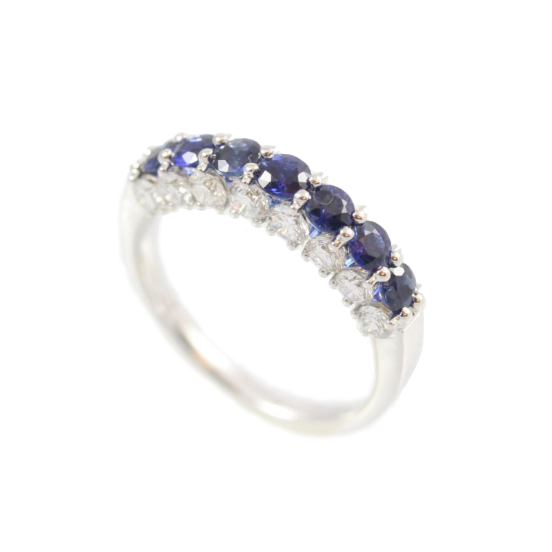 Amden Jewelry Seamless Collection 18 Karat White Gold Nine Sapphire and Diamond Band