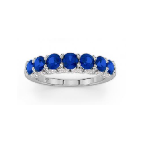 Amden Jewelry Seamless Collection 18 Karat White Gold Seven Sapphire and Diamond Band