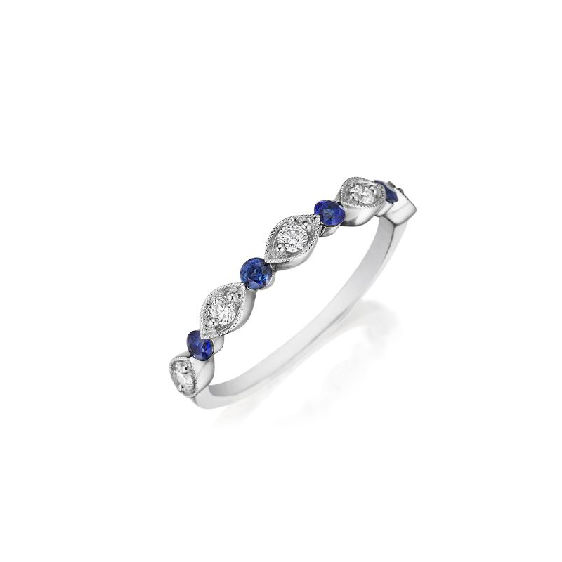Henry Daussi 18 Karat White Gold Diamond and Sapphire Wedding Band