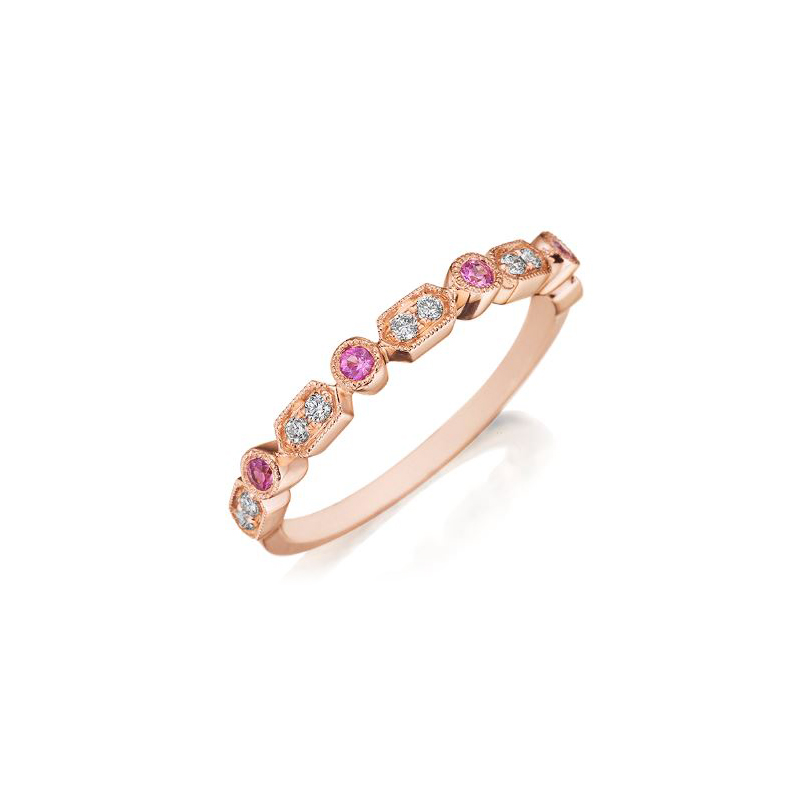 Henry Daussi 14 Karat Rose Gold Diamond and Pink Sapphire Band