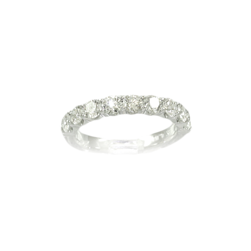 18 Karat White Gold Nine Diamond Wedding Band