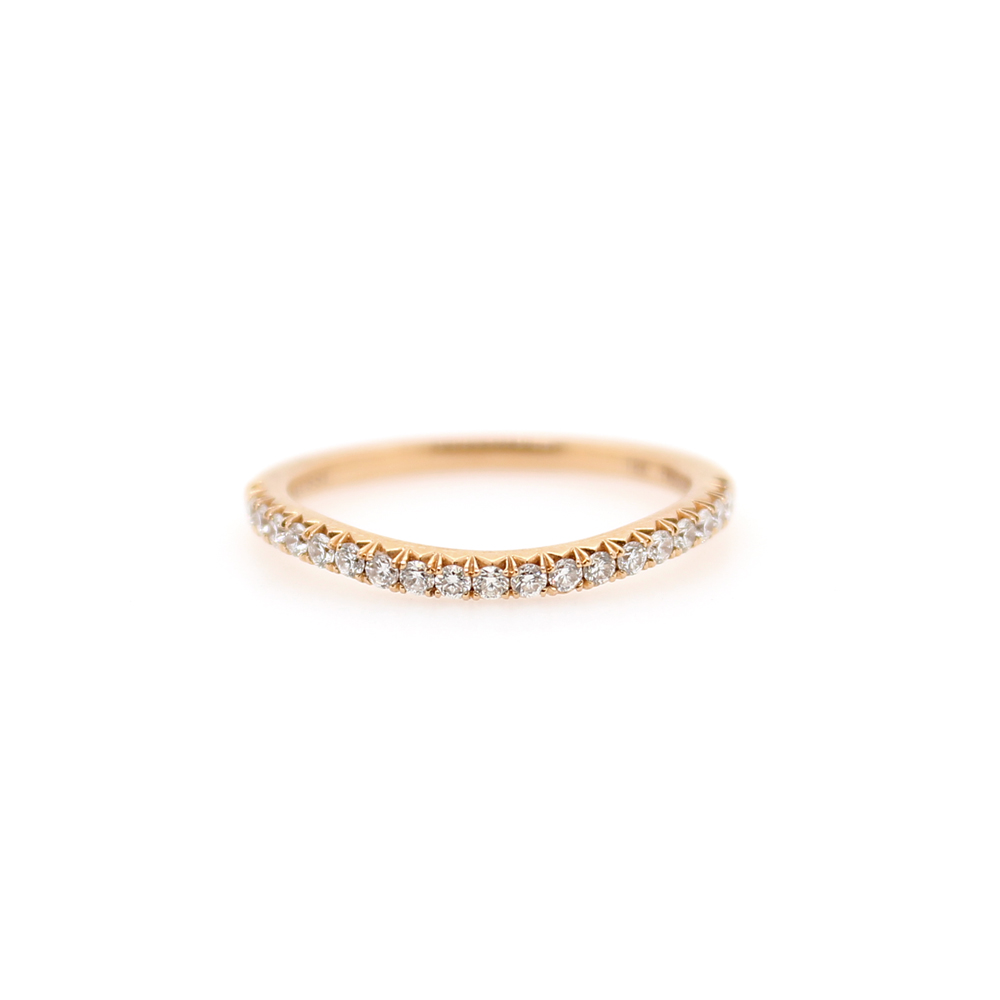 Henry Daussi 14 Karat Pink Gold Diamond Curved Band