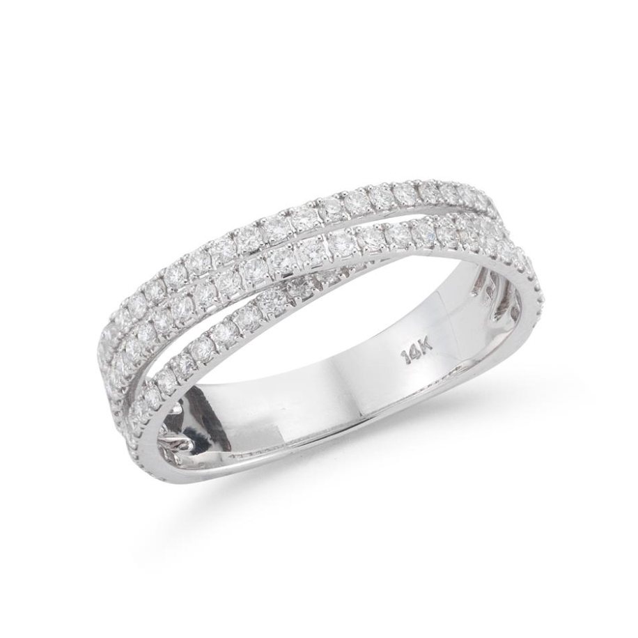 Beny Sofer 14 Karat White Gold Diamond Crossover Band