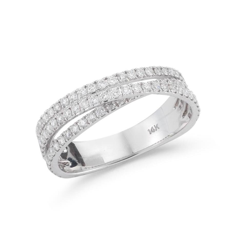 Beny Sofer 14 Karat White Gold Diamond Crossover Band