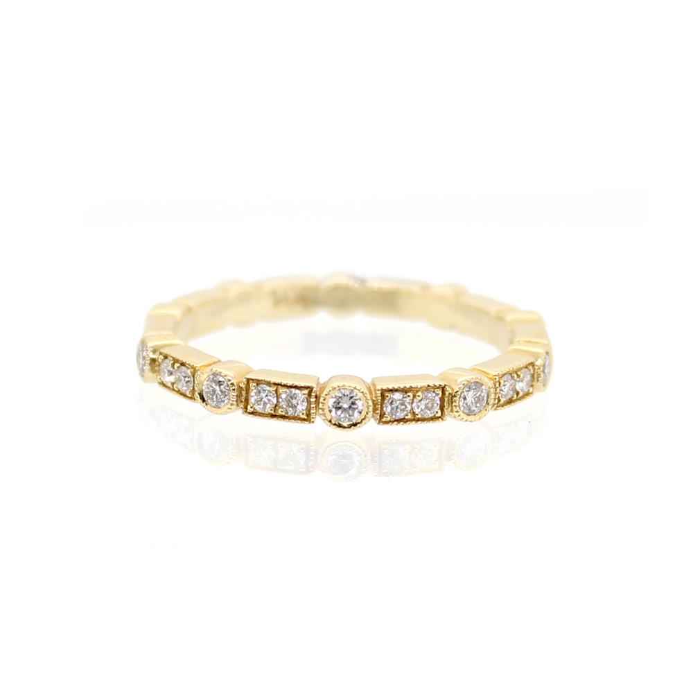 Beny Sofer 14 Karat Yellow Gold Diamond Bar/Bezel Band