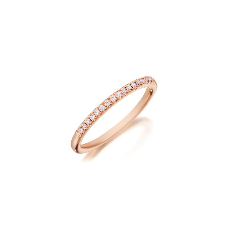 Henry Daussi 14 Karat Rose Gold Natural Light Pink Diamond Band