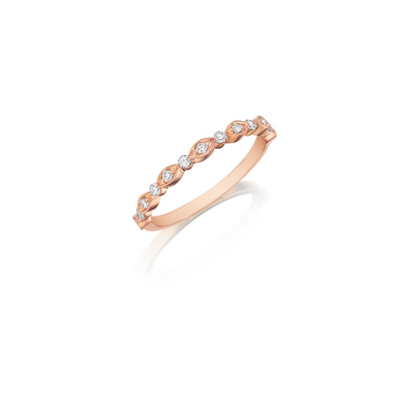 Henry Daussi 18 Karat Rose Gold Diamond Wedding Band