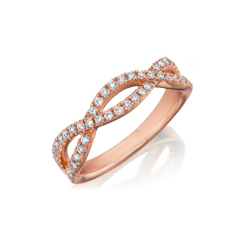 Henry Daussi 18 Karat Rose Gold Crossover Diamond Wedding Band
