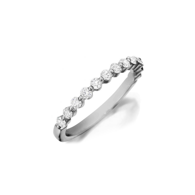 Henry Daussi 18 Karat White Gold Shared Prong Diamond Band