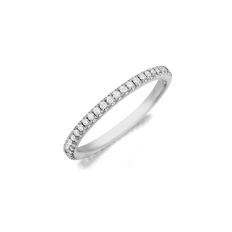 Henry Daussi 14 Karat White Gold Pave Set Diamond Band