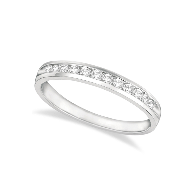 14 Karat white gold and diamond band 1/10 ct.