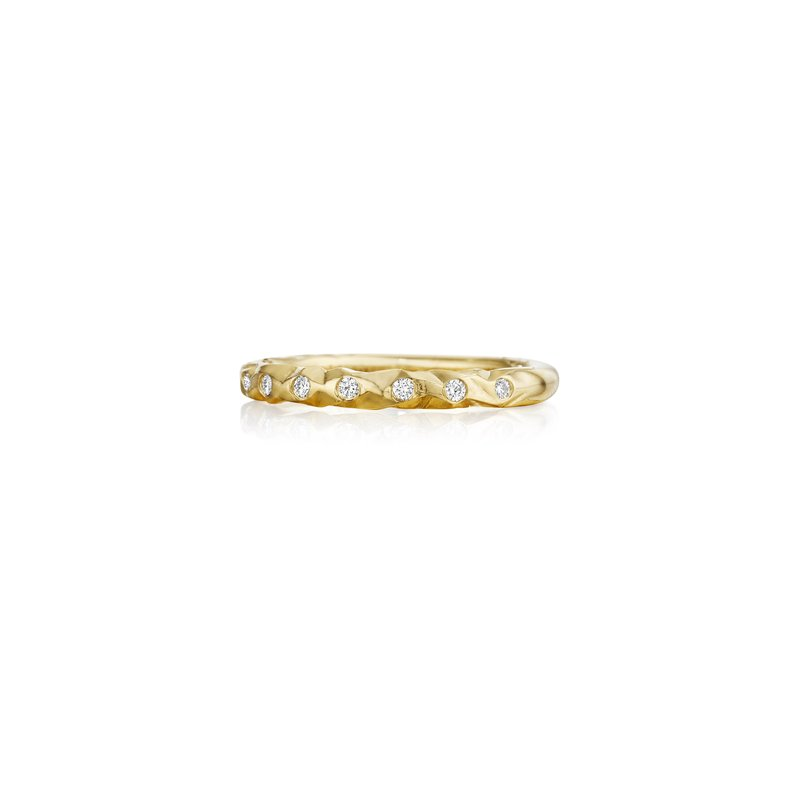 Henry Daussi 14 Karat Yellow Gold Hammered Diamond Band