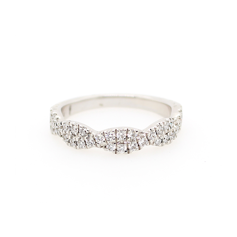 Henry Daussi 18 Karat White Gold Twist Over Pave Diamond Band