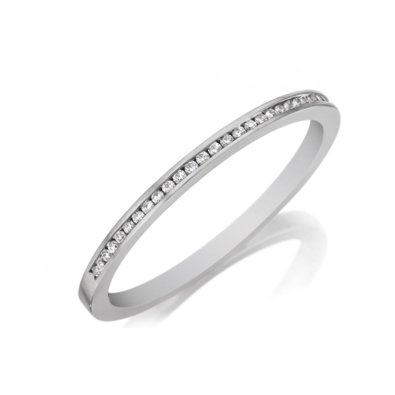 Henry Daussi 18 Karat White Gold Diamond Band