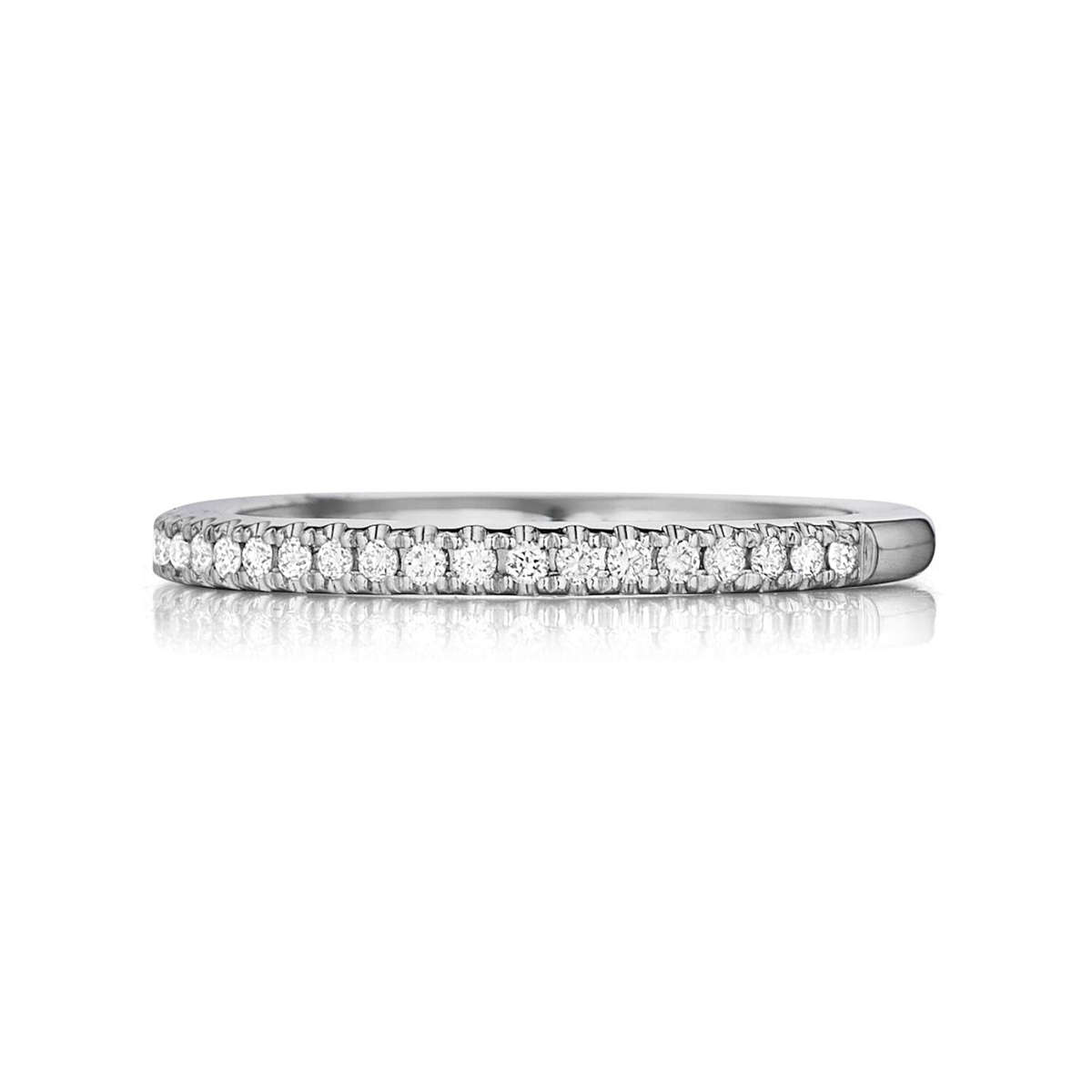 Henri Daussi 14 Karat White Gold Pave Diamond Band