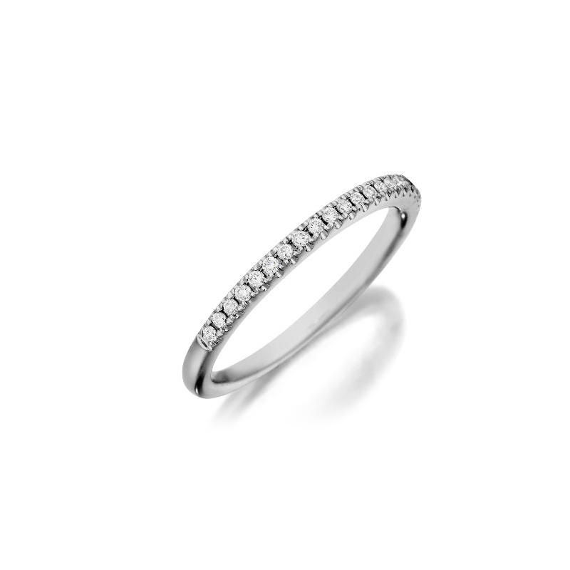 Henry Daussi 18 Karat White Gold Diamond Wedding Band