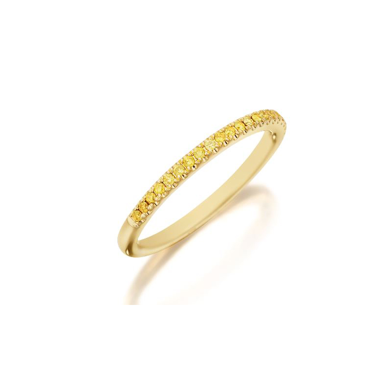 Henry Daussi 18 Karat Yellow Gold Round Yellow Diamond Wedding Band