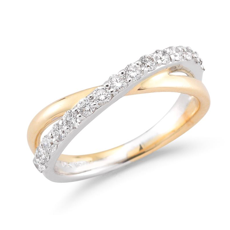 Beny Sofer 14 Karat Yellow Gold Diamond Crossover Band