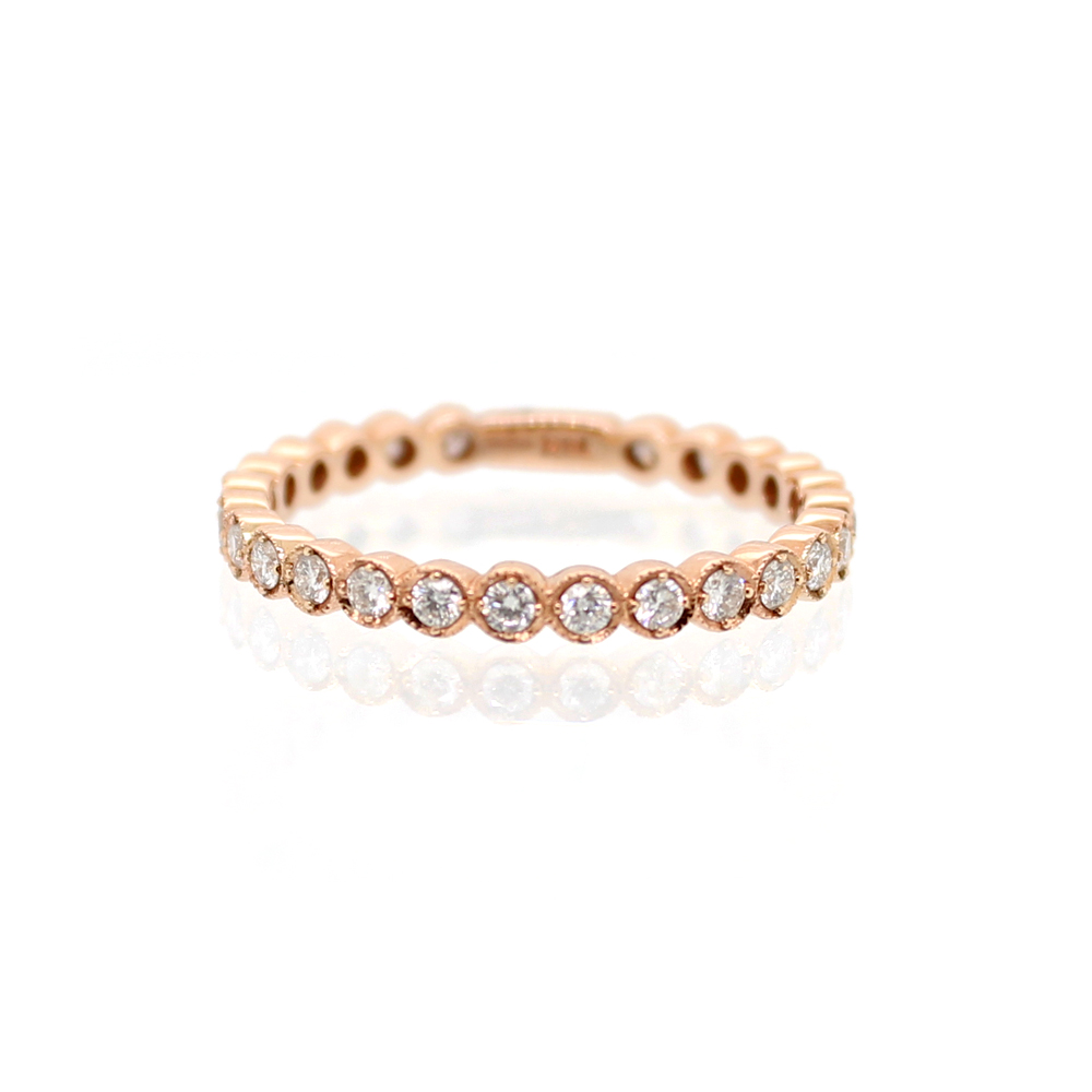 Beny Sofer 14 Karat Rose Gold Diamond Band with Sizing Bar